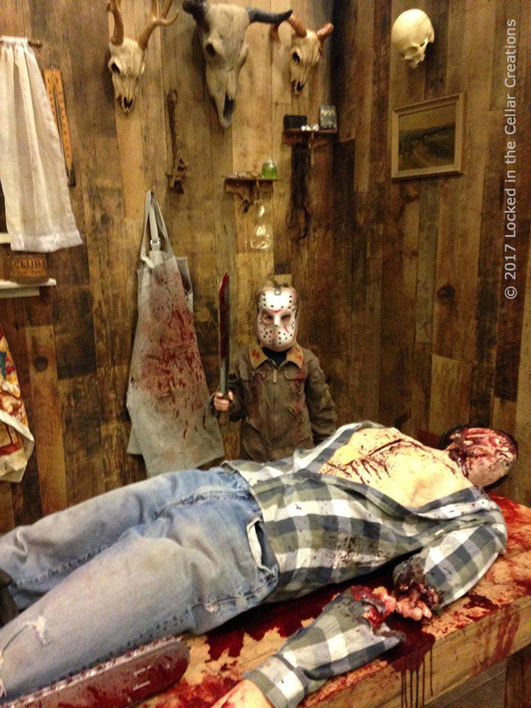Mini Jason visits the Kill Shack at Frightmare in the Falls 2017.