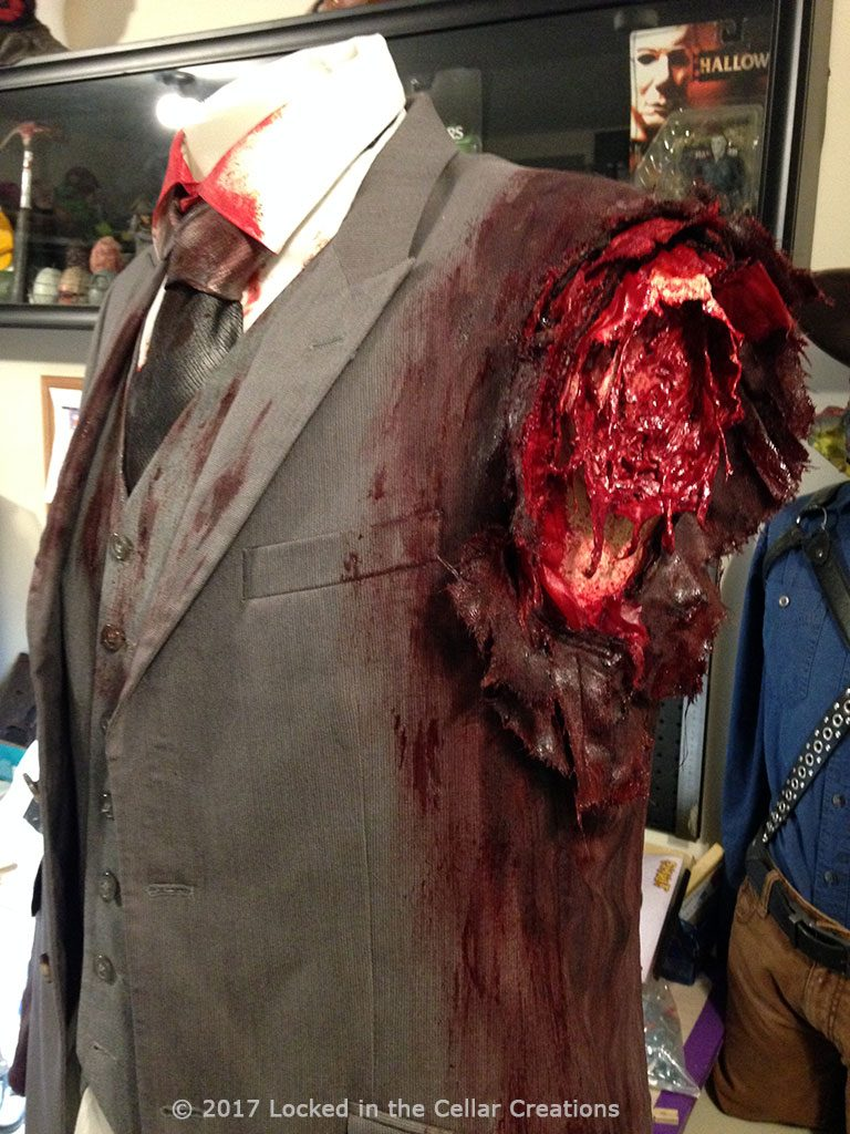 The bloody suit jacket that we made for the one-armed zombie from Shaun of the Dead