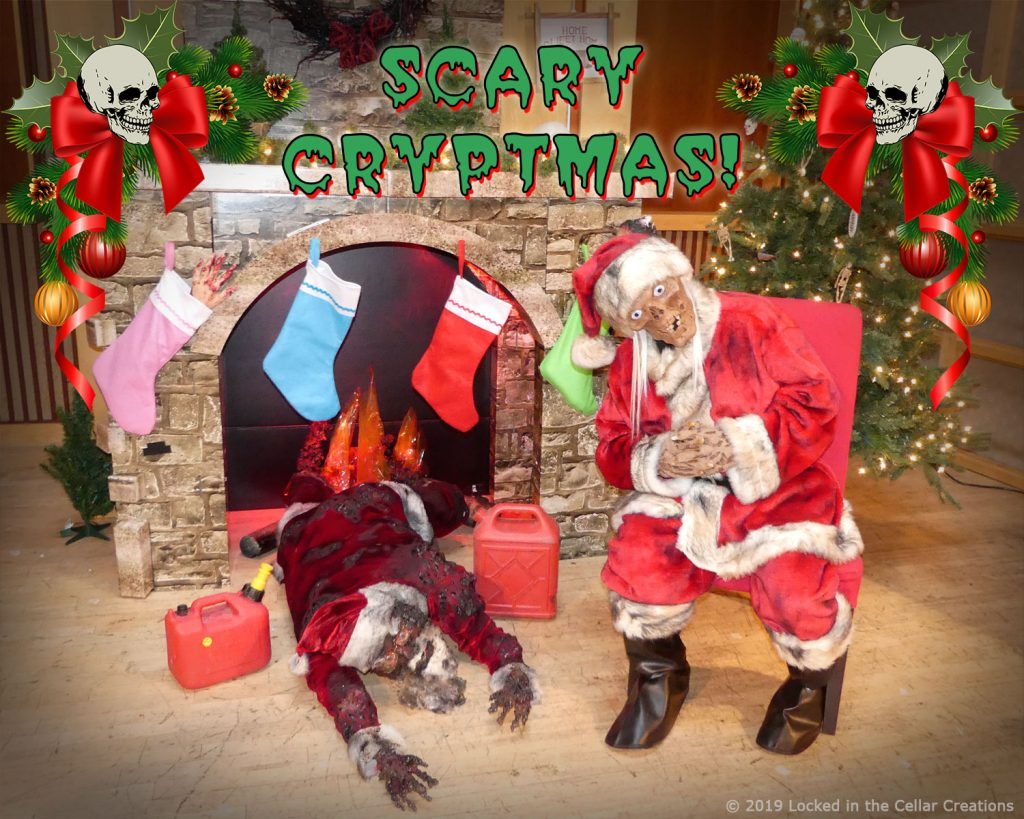 """Our """"Scary Cryptmas"""" Horror Christmas Photo Experience features a fire place, Santa's Corpse, gasoline canisters and our actor as Crypt Kringle."""
