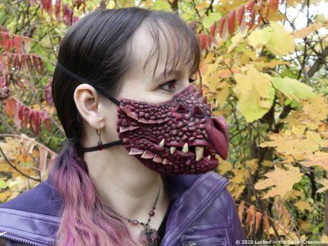 Our super cool Dragon face mask is available in red, green, blue/purple, tan/brown and unpainted.