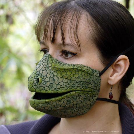 Deluxe Green Reptile Face Mask for Lizard, Snake, Iguana, Chameleon or Mutant Cosplay