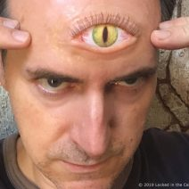 Extra Large Third Eye Prosthetic with yellow cat or dragon iris